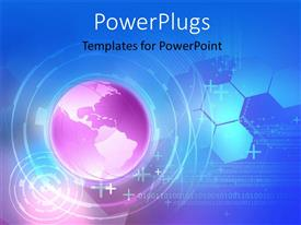 PowerPlugs: PowerPoint template with a globe in pinkish color with patterns in background