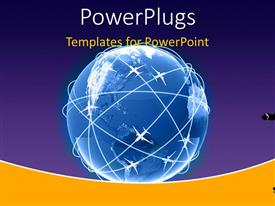 PowerPlugs: PowerPoint template with a man holding a briefcase pointing at a large blue globe