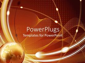 PowerPlugs: PowerPoint template with globe planet earth on abstract lines and dotted network background