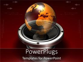 PowerPoint template displaying a globe with a reddish background