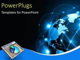 PowerPlugs: PowerPoint template with a globe with representation of technology and a pie chart