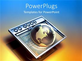 PowerPlugs: PowerPoint template with a globe in the screen with a bluish background