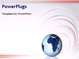 PowerPlugs: PowerPoint template with a globe with a sentence and curves in background