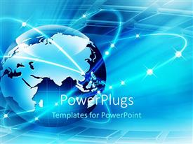 PowerPlugs: PowerPoint template with a globe with shining digital background