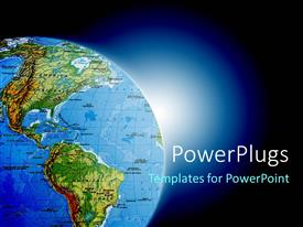 PowerPlugs: PowerPoint template with globe showing North and South America on blue background