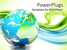 PowerPlugs: PowerPoint template with globe showing water, clouds, and greenery on blue and green background
