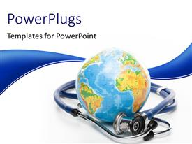 PowerPlugs: PowerPoint template with globe with stethoscope on a white background