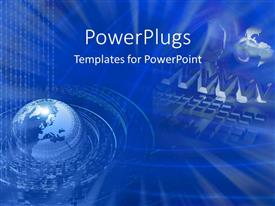 PowerPlugs: PowerPoint template with globe surrounded by circles of binary codes and www, computer keyboard on blue background