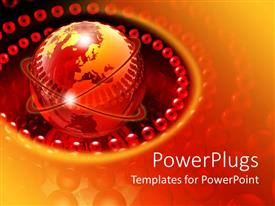 PowerPlugs: PowerPoint template with a globe surrounded with the red and glowing spheres