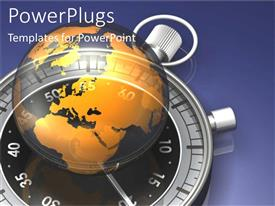 PowerPlugs: PowerPoint template with globe and timer as a metaphor punctual time world earth