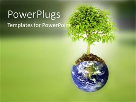 PowerPlugs: PowerPoint template with a globe with a tree and blurr background