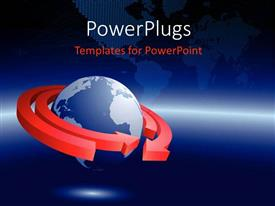 PowerPlugs: PowerPoint template with a globe with two arrows in circles with map in the background