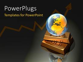 PowerPlugs: PowerPoint template with a globe with two gold plates and grayish background