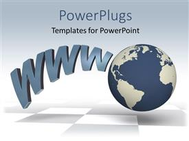PowerPlugs: PowerPoint template with the globe with various words and greyish background