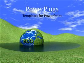PowerPoint template displaying a globe in the water with a lot of greenery in the background