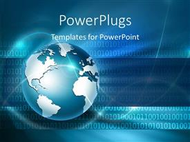 PowerPlugs: PowerPoint template with globe with waves and digital blue background