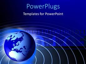 PowerPlugs: PowerPoint template with globe within planetary lines with binary digits and blue background