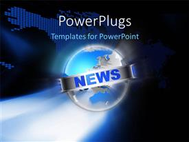 PowerPlugs: PowerPoint template with a globe with the word news and map in the background