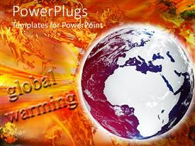 PowerPlugs: PowerPoint template with a globe with the words global warming in the background