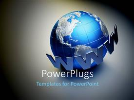 PowerPlugs: PowerPoint template with a globe with the words of www and grayish background