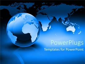 PowerPlugs: PowerPoint template with globe of world with countries as a metaphor on a blue background