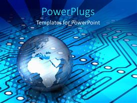 PowerPlugs: PowerPoint template with globe world Earth with blue circuit board, technology, IT