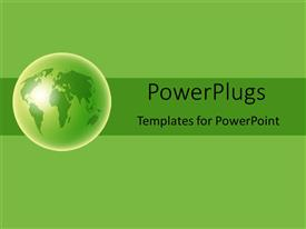 PowerPoint template displaying globe world Earth on green banner with light green background
