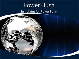 PowerPlugs: PowerPoint template with globe world graphic as a metaphor global issues business work outsourcing blue