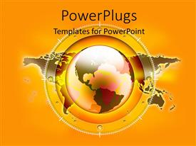 PowerPlugs: PowerPoint template with a globe in yellow color with map in the background