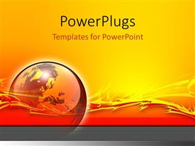 PowerPlugs: PowerPoint template with a globe with a yellow and reddish background and place for text
