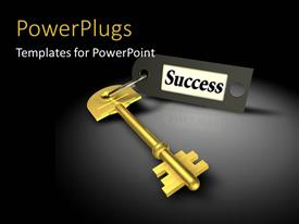 PowerPlugs: PowerPoint template with a glolden key with the success tag