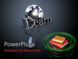 PowerPlugs: PowerPoint template with glossy black and white globe with Learn and stack of books surrounded by green binary numbers