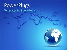 PowerPlugs: PowerPoint template with glossy earth globe over blue background with world map