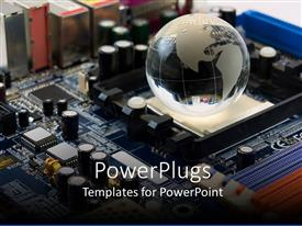 PowerPlugs: PowerPoint template with glossy earth laying of blue integrated circuit board
