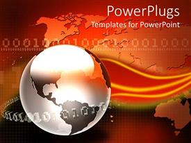 PowerPoint template displaying glossy metallic globe with binary codes on plain world map on gradient orange background