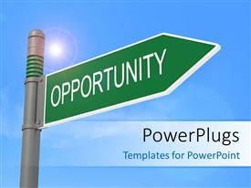 PowerPlugs: PowerPoint template with glow in blue sky with green sign post of opportunity