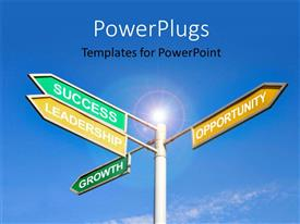PowerPoint template displaying glow in blue sky with signpost to success ingredients