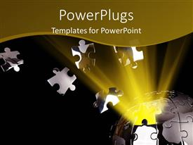 PowerPlugs: PowerPoint template with glow of light from globe built with jigsaw with outburst of puzzle pieces