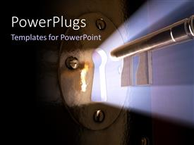PowerPlugs: PowerPoint template with glow out of key hole with key moving towards hole