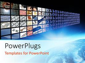 PowerPlugs: PowerPoint template with glow on planet earth and media visual panel screen