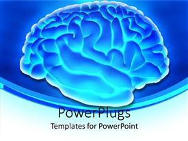 PowerPoint template displaying glowing 3D depiction of human brain with silver margins on blue background