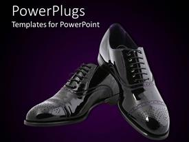 PowerPoint template displaying glowing black men elegant shoes on purple and black background