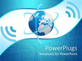 PowerPlugs: PowerPoint template with glowing blue earth globe with wireless network symbol on blue background