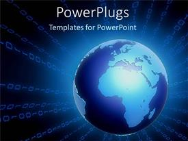PowerPlugs: PowerPoint template with glowing blue globe radiating binary numbers