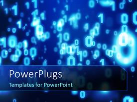 PowerPoint template displaying glowing blue numbers on dark background