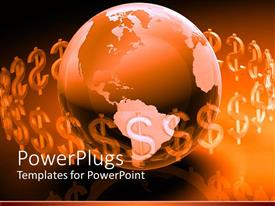 PowerPlugs: PowerPoint template with glowing brown and pink globe surrounded by translucent dollar signs
