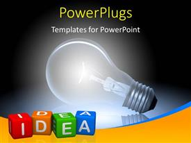 PowerPlugs: PowerPoint template with glowing bulb depicting innovation with idea keyword printed on multi color dices