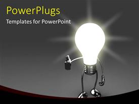PowerPoint template displaying a glowing bulb with grayish background