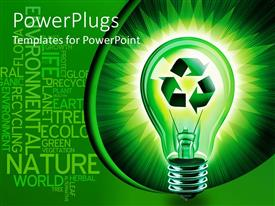 PowerPoint template displaying glowing bulb with recycle sign inside in green background