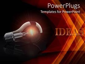 PowerPlugs: PowerPoint template with a glowing bulb with a reddish background